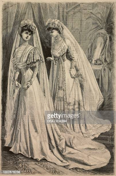 Woman wearing a Liberty satin wedding dress and woman wearing a Crepe de Chine wedding dress engraving from La Mode Illustree No 31 August 2 1908
