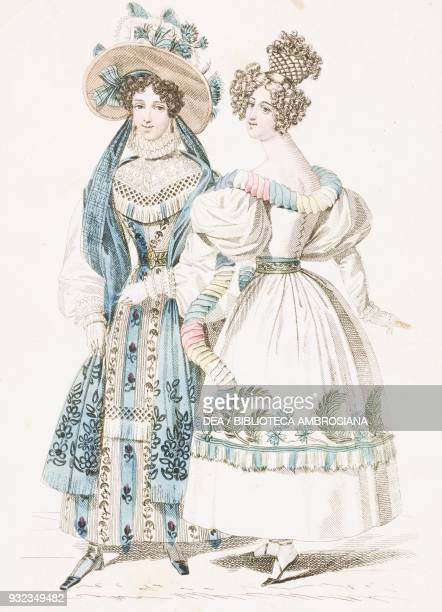 Woman wearing a lightcoloured striped dress with floral decorations hat decorated with flowers and blue ribbons matched with the stole of the same...