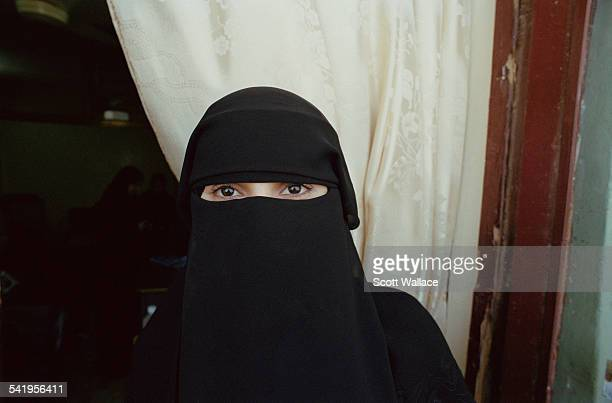 A woman wearing a niqab in Aden Yemen 2004