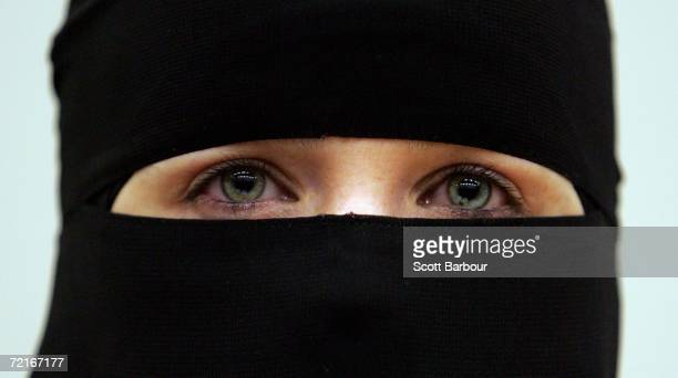 A woman wearing a niqab veil listens during a seminar organised by the womens chapter of HizbutTahrir Britain to challenge the remarks made by Jack...