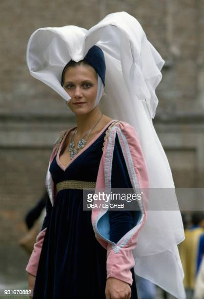 Woman wearing a period costume Palio di Asti Piedmont Italy