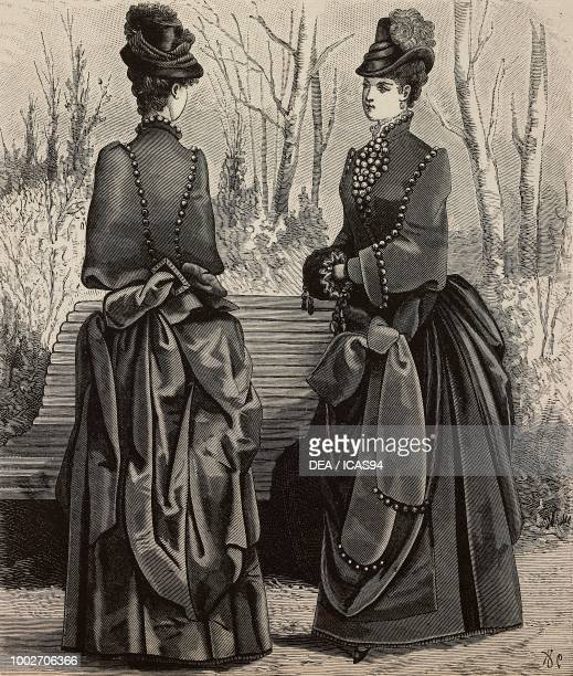 Woman wearing a plush cape and a dress with large bows front and back views design by Madame PelletierVidal engraving from La Mode Illustree No 3...