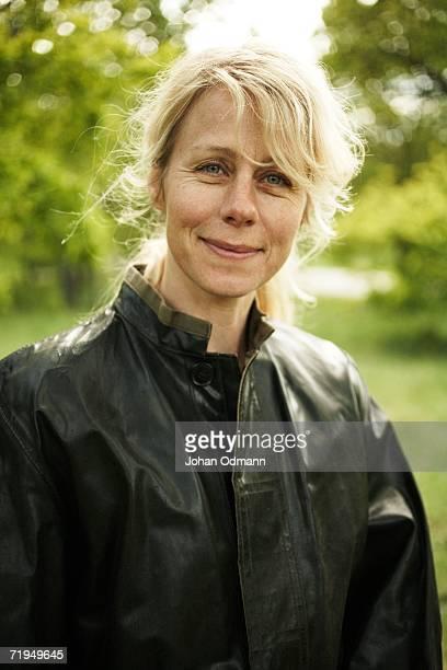 Woman wearing a rain jacket.