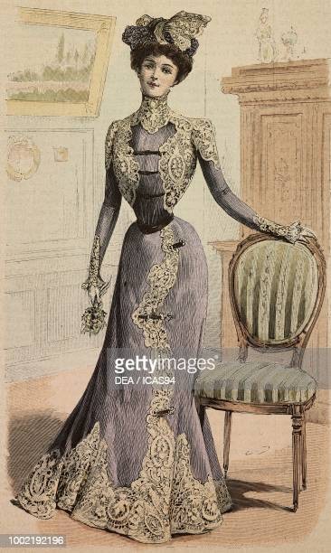Woman wearing a reception or procession dress in crepe de Chine and Cluny lace creation by Mademoiselle Louise Piret engraving from La Mode Illustree...