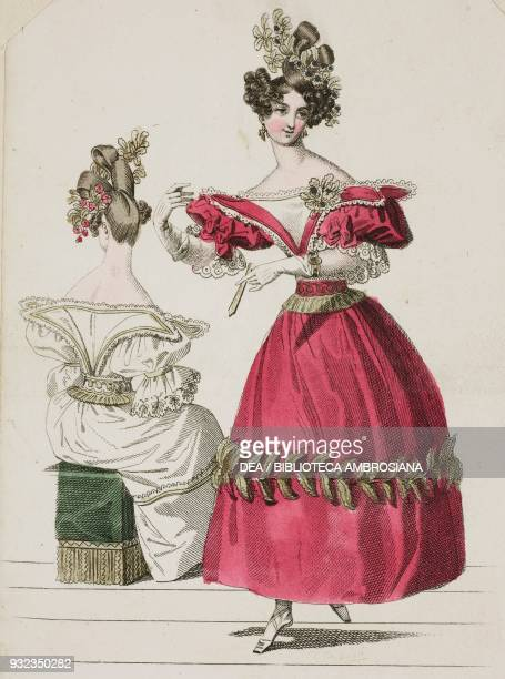 Woman wearing a red dress with puffed sleeves and vegetal ornaments on the skirt gloves and flowers in her hair and a woman wearing the same dress in...