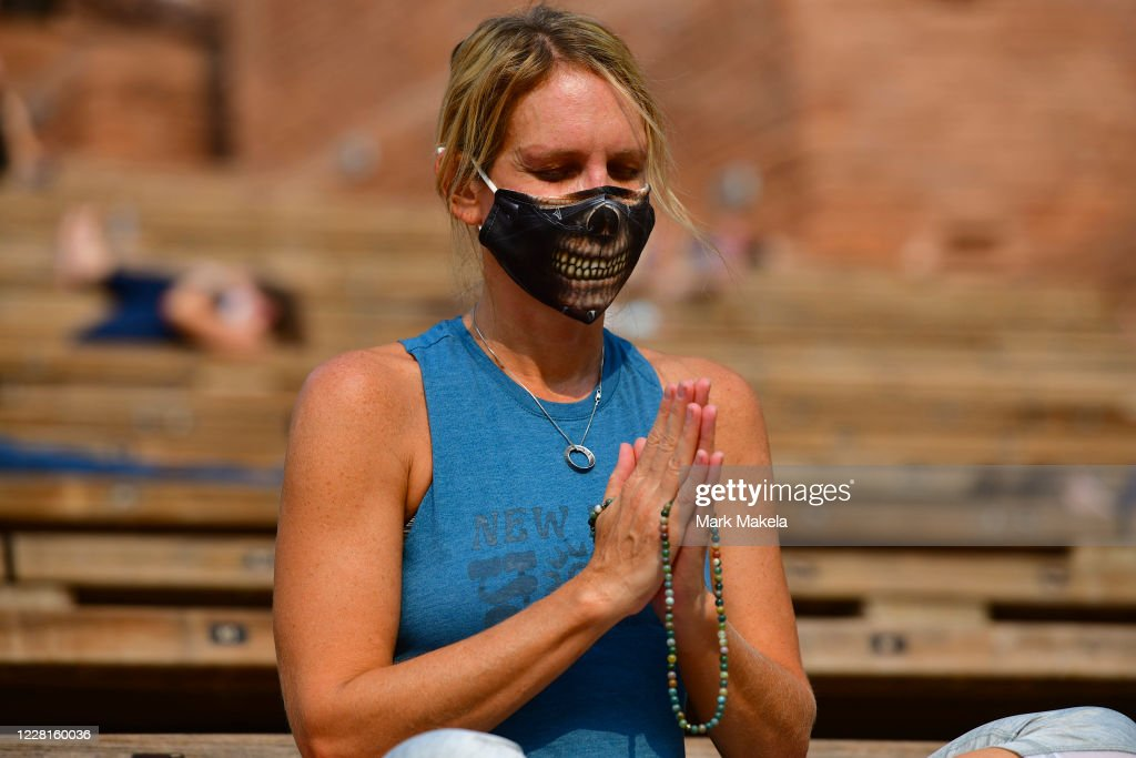 Colorado's Famed Red Rocks Amphitheatre Hosts Social Distanced Yoga And Drive-In Movies : News Photo