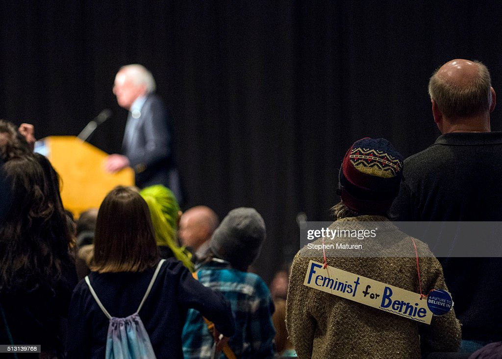 A woman wearing a sign that reads, 'Feminist for Bernie' listens to Democratic presidential candidate Sen. Bernie Sanders (D-VT) speak during a campaign rally at the Minneapolis Convention Center February 29, 2016 in Minneapolis, Minnesota. Sanders, who has spent the last four days campaigning in Minnesota, is hoping to win the State in the Super Tuesday primary election on March 1st, 2016.