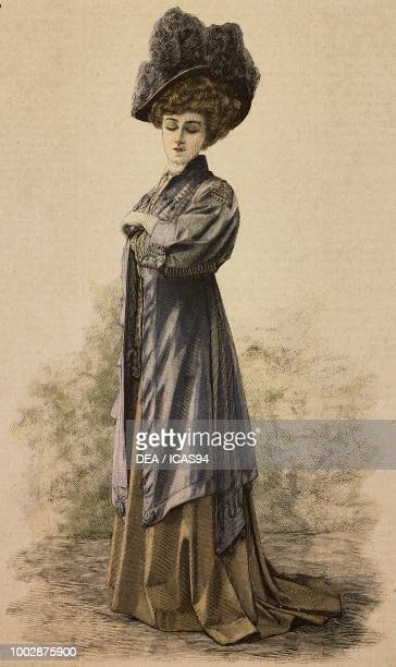 Woman wearing a spring overcoat in Parma Drap satin decorated with embroidery and trimmings hat with feathers creation by Clary colored engraving...