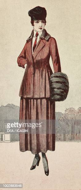 Woman wearing a suit in burgundy Duvetine wide skirt with pleats jacket with pleats collar and sleeve in silver lapin hat colored engraving from La...