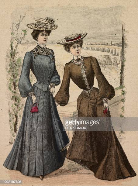 Woman wearing a suit in semicorkscrew fabric straw hat with feather woman wearing a pique walking dress decorated with a cretonne ribbon straw hat...