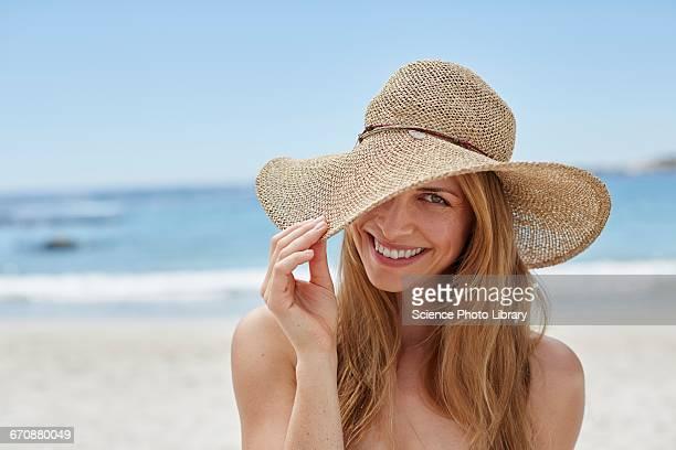 Woman wearing a sunhat