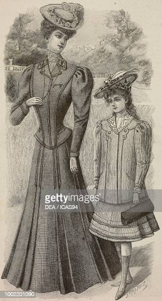 Woman wearing a tailored suit in covercoat creation by Maison Meunier jeune an 810 yearold girl with skirt jacket and bag creation by Madame Blanche...