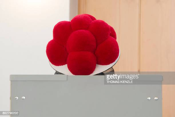 A woman wearing a traditional 'Bollenhut' pompon hat typical for the Black Forest region fills out her ballot papers at a polling station in Gutach...