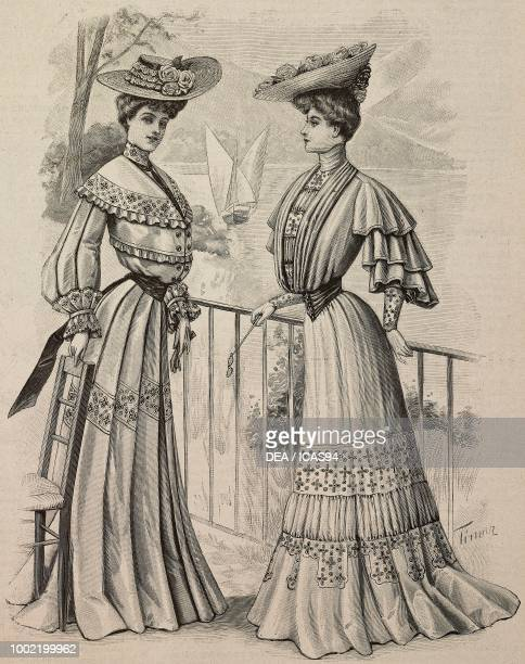 Woman wearing a travelling dress woman wearing a crepe de Chine meeting dress hats with flower garlands models by Mademoiselle Louise Piret engraving...