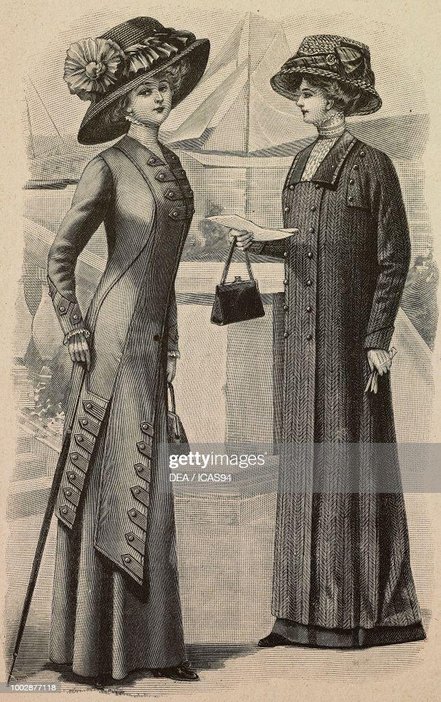 ee801c6e27c66 Woman wearing a travelling dress, woman wearing a herringbone duster ...