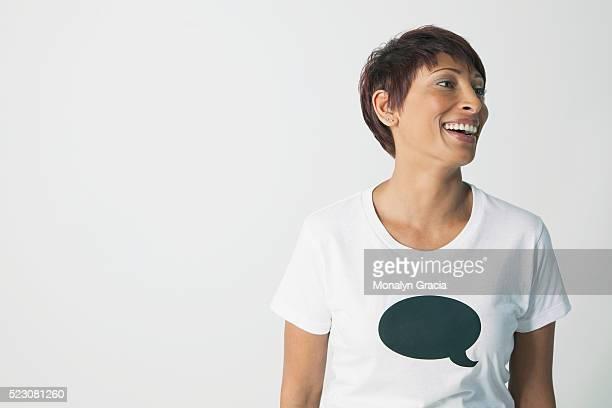 Woman wearing a t-shirt with a speech bubble