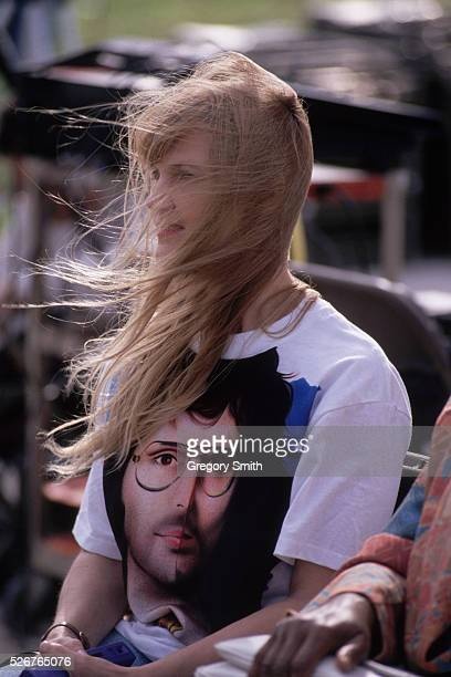 Woman wearing a t-shirt with the likeness of David Koresh on it attends a memorial service on the third anniversary of the burning of the Branch...