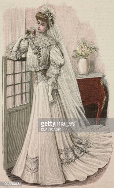 Woman wearing a white crepe de Chine wedding dress train skirt creation by Mademoiselle Louise Piret engraving from La Mode Illustree No 14 April 2...