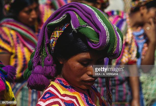 Woman wearing a woollen hat at the Quetzaltenango market Sierra Madre Guatemala