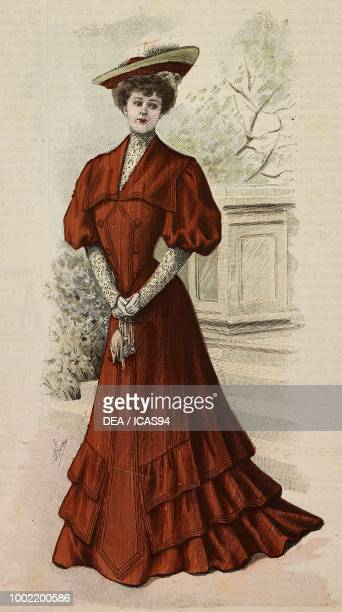 Woman wearing an afternoon dress in Drap ideal skirt with ruffles creation by Madame Blanche Limousin engraving from La Mode Illustree No 11 March 12...