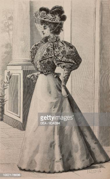 Woman wearing an autumn drapvelours chine visiting dress creation by Madame Vincenot engraving from La Mode Illustree n 36 September 8 Paris