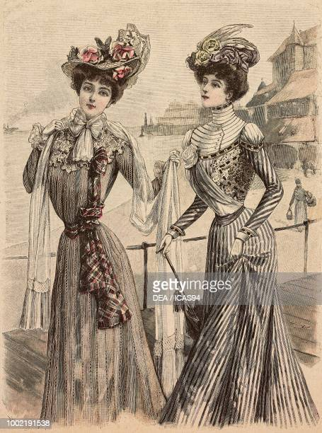Woman wearing an ecru linen dress and a hat woman wearing a striped pekin dress and a hat models by Mademoiselle Louise Piret engraving from La Mode...