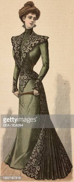 Woman wearing an elegant reception dress in crepe de Chine creation by Madame Angenault engraving from La Mode Illustree No 20 May 20 1900