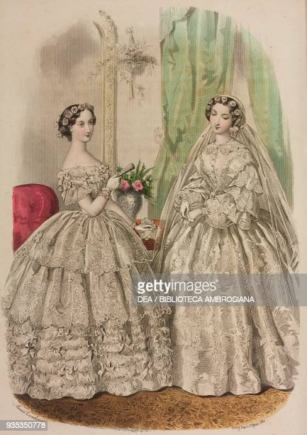 Woman wearing an evening wedding dress, woman wearing a morning wedding dress, illustration by Adele-Anais Toudouze, Le conseiller des dames, journal...