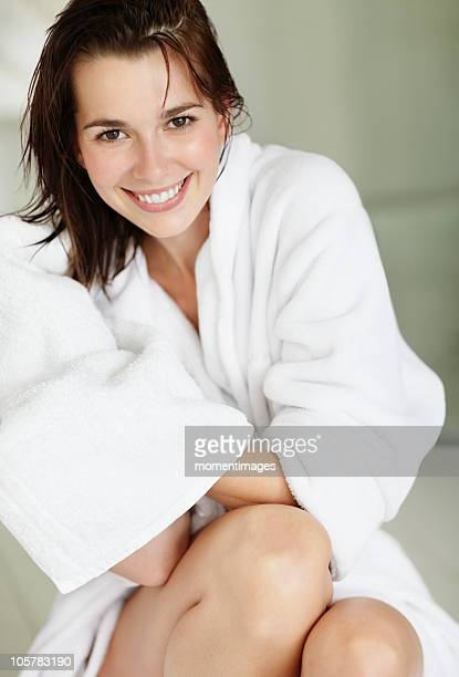 Woman wearing bathrobe