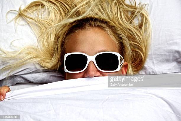 Woman wearing big sunglasses