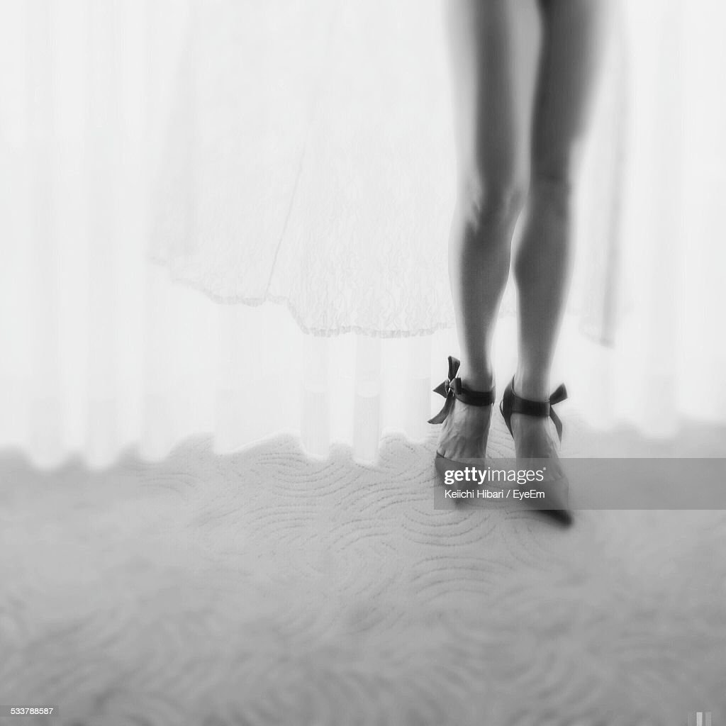 Woman Wearing Black Stiletto High Heel Shoe : Foto stock