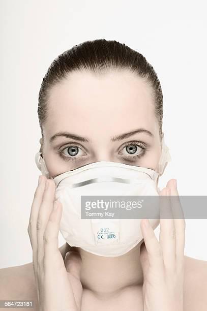 Woman Wearing Breathing Mask