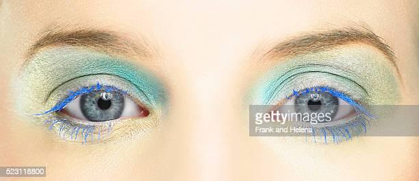 Woman Wearing Bright Eyeshadow and Mascara