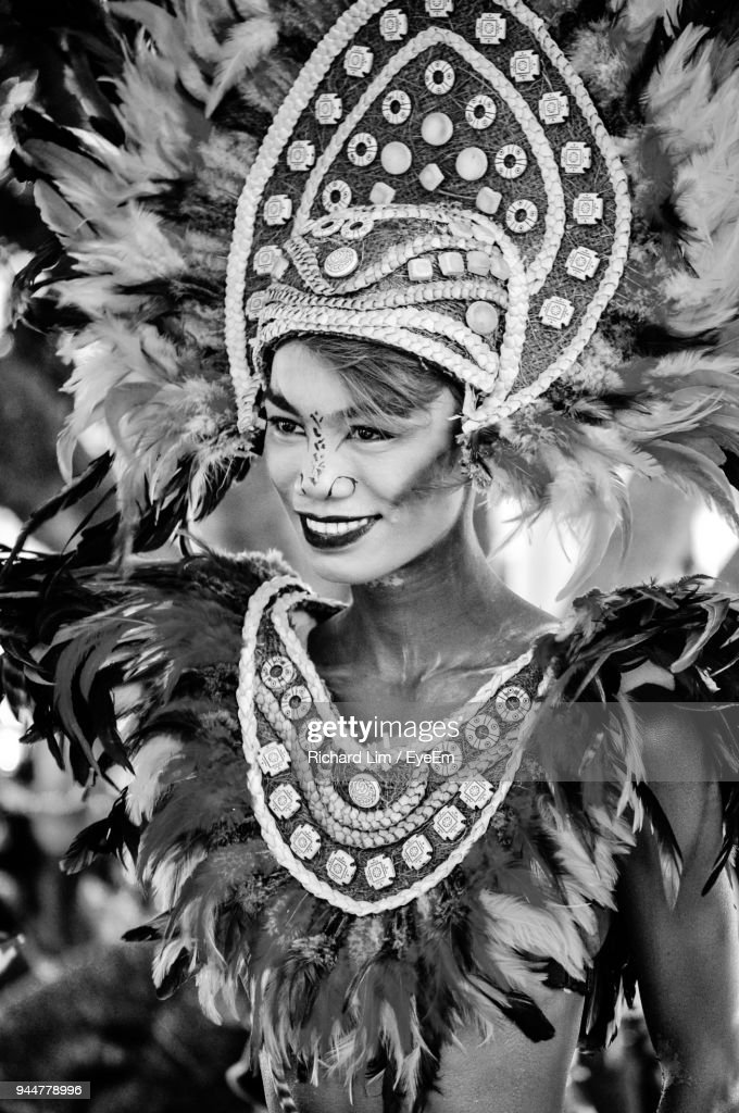 Woman Wearing Costume During Carnival : Stock Photo