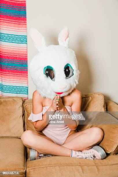 Woman Wearing Disguise Bunny Costume Rabbit Mask