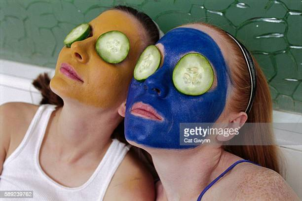 Woman Wearing Facial Masks and Cucumbers