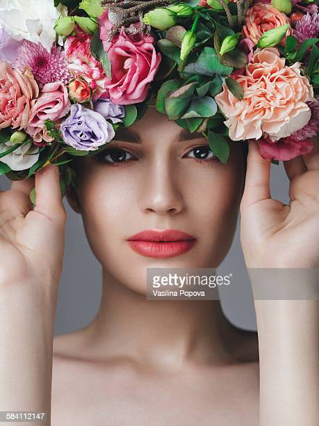 Woman wearing floral eye mask