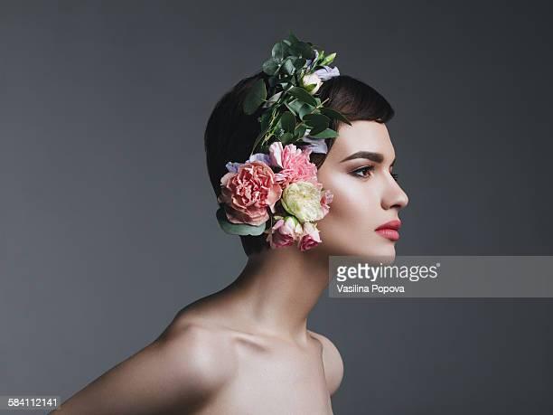 Woman wearing floral headphones