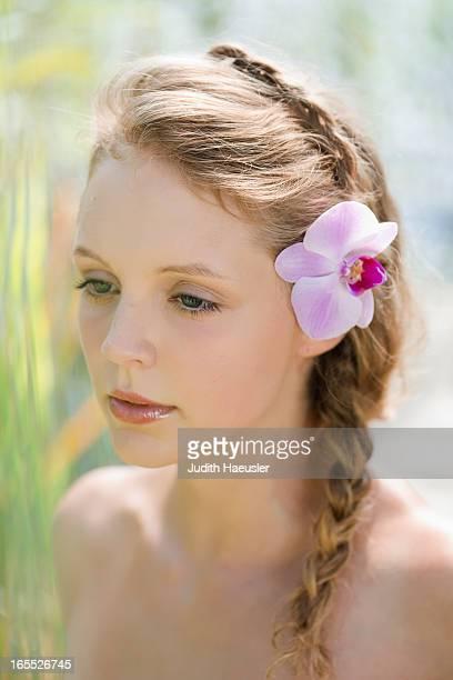 Woman wearing flower in her hair