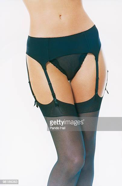 Woman wearing garter belt, close-up
