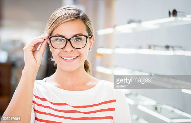 Woman wearing glasses at the optician