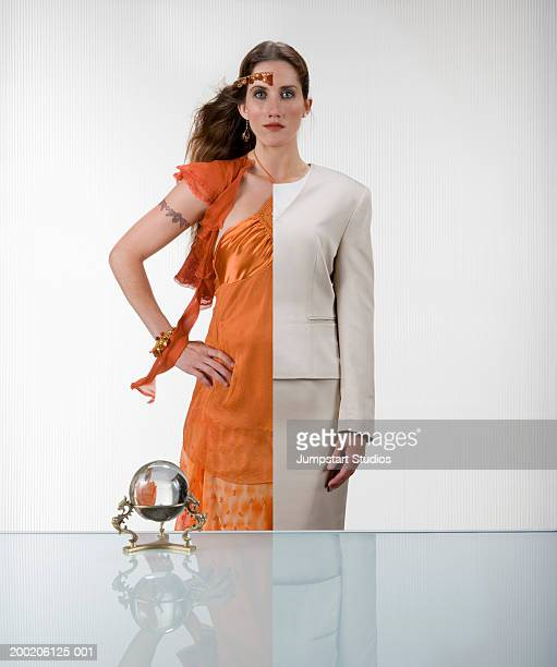 Woman wearing half business attire half gypsy (Digital Composite)