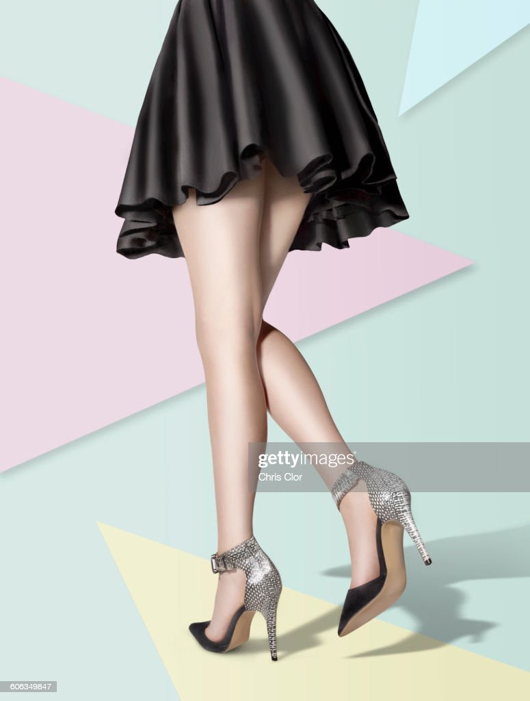 Woman wearing high heels and skirt : Stock Photo