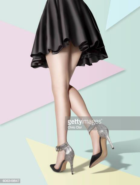 Woman wearing high heels and skirt