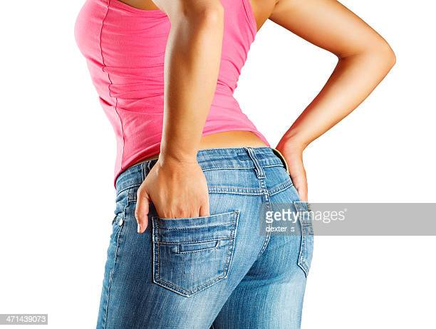 woman wearing jeans - female backside stock pictures, royalty-free photos & images