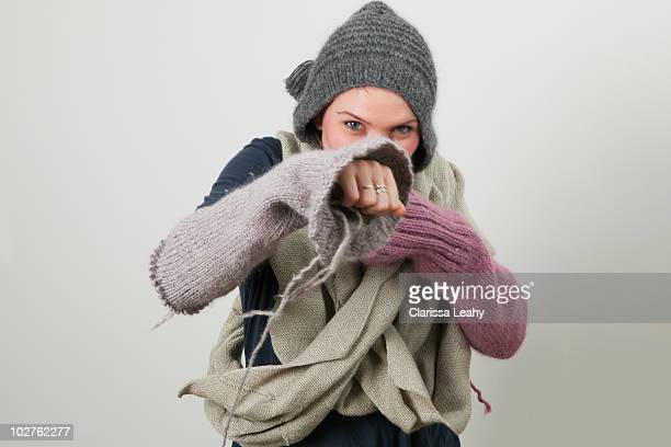 Woman wearing knitting boxing