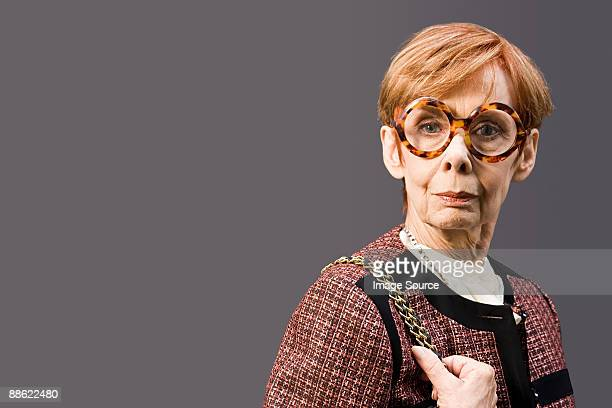 Woman wearing large eyeglasses