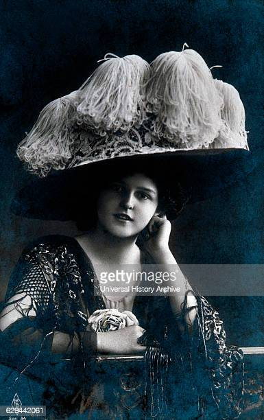 Woman Wearing Large Hat, Portrait, circa 1909.
