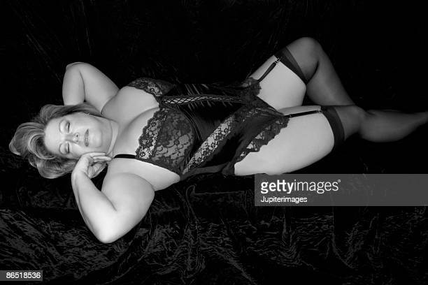 woman wearing lingerie - chubby stock photos and pictures