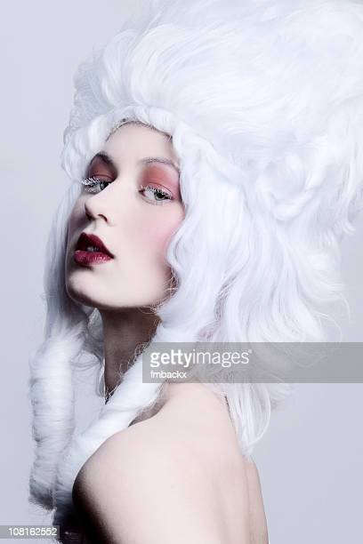 Woman Wearing Medieval Style White Wig